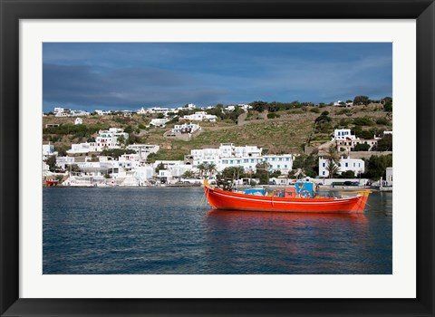 Framed Greece, Cyclades, Mykonos, Hora Harbor view with Greek fishing boat Print