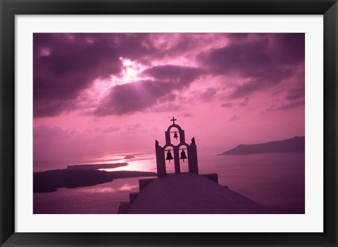 Framed Church Steeple with Evening Rays, Santorini Island, Greece Print