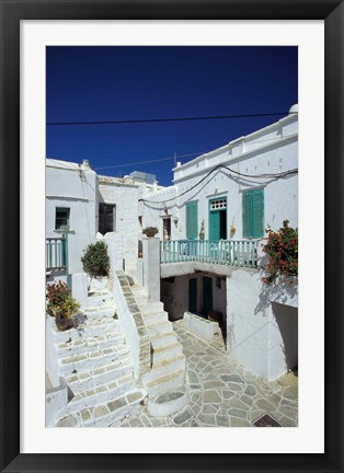 Framed Stairs, Houses and Decorations of Chora, Cyclades Islands, Greece Print