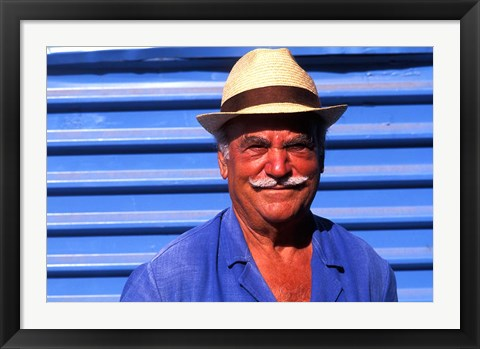 Framed Close Up of Native Man with Blue Wall, Athens, Greece Print