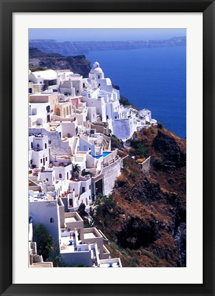 Framed White Buildings in Oia Santorini, Athens, Greece Print
