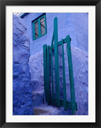 Framed Green Gate on Kalymnos Island, Dodecanese Islands, Greece Print