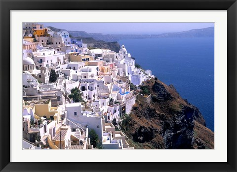 Framed Mountains with Cliffside White Buildings in Santorini, Greece Print