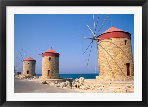 Framed Old Windmills of Rhodes, Greece Print