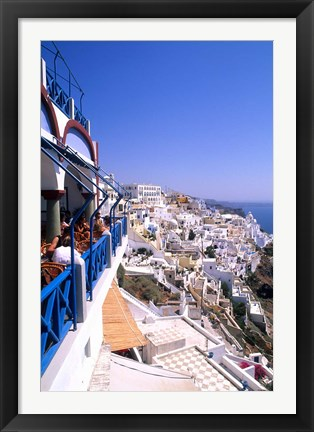 Framed View from Cliffs, Santorini, Greece Print