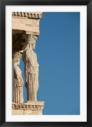 Framed Greece, Athens, Acropolis The Carved maiden columns of the Erectheum Print