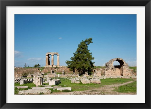 Framed Greece, Corinth Carved stone rubble and the Doric Temple of Apollo Print