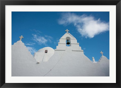 Framed Greece, Cyclades, Mykonos, Hora Church rooftop with Bell Tower Print