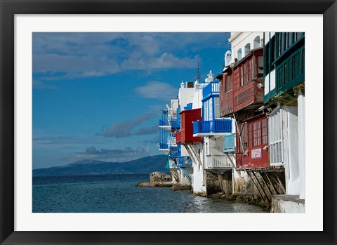 Framed Greece, Cyclades, Mykonos, Hora 'Little Venice' area Print