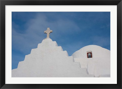 Framed Greece, Cyclades, Mykonos, Hora Typical church rooftop Print