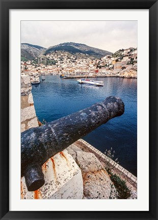 Framed Cannon, hydrofoil boat, harbor, Hydra Island, Greece Print