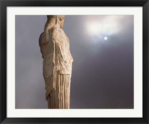 Framed Sculptures of the Caryatid Maidens Support the Pediment of the Erecthion Temple, Adjacent to the Parthenon, Athens, Greece Print