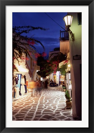 Framed Alleyway at Night, Mykonos, Greece Print