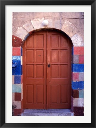 Framed Old Brown Wooden Door, Rhodes, Dodecanese Islands, Greece Print