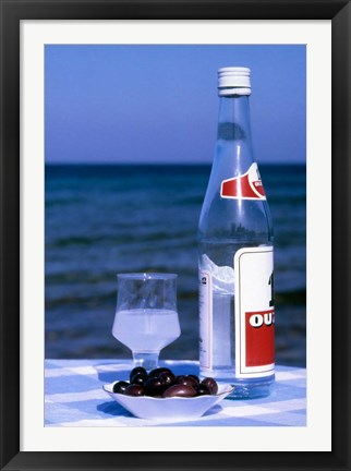 Framed Ouzo and Plate of Black Olives, Greece Print
