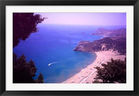 Framed Beach at Tsambika from the Monastery, Rhodes, Dodecanese Islands, Greece Print