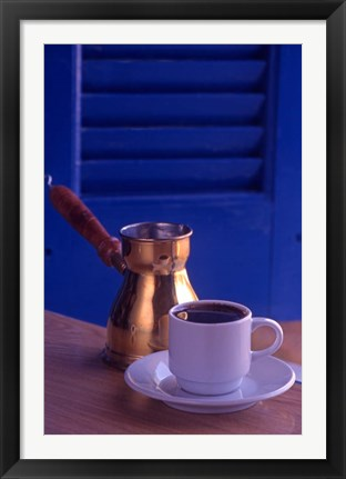 Framed Greek Coffee and Copper Pot, Crete, Greece Print