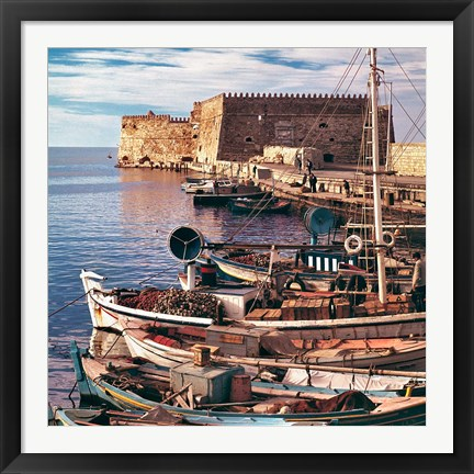 Framed Greece, Crete, Fishing boats, Rossa al Mare Print