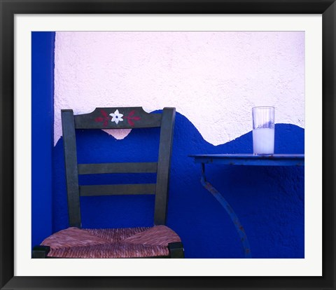 Framed Glass of Ouzo on a Taverna table South Crete Greece Print