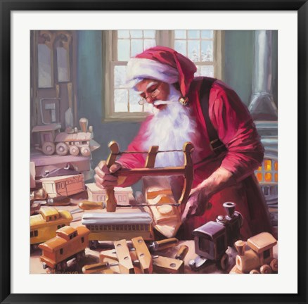 Framed Santa In The Workshop Print
