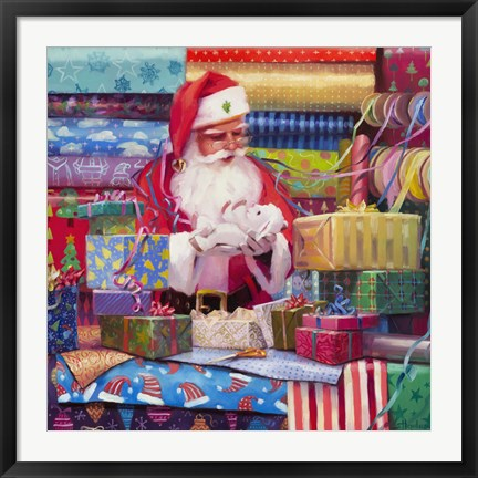 Framed Santa All Wrapped Up Print