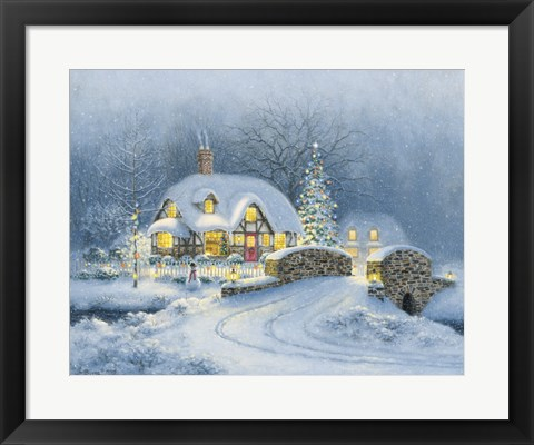 Framed Christmas At Kirby Cottage Print