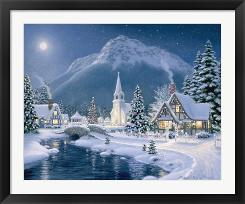 Framed Christmas Village Print