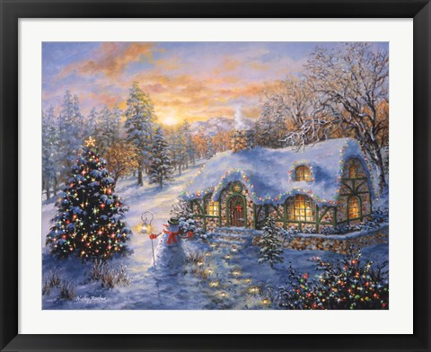 Framed Christmas Cottage 1 Print