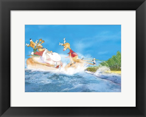 Framed Santa Waterski Print
