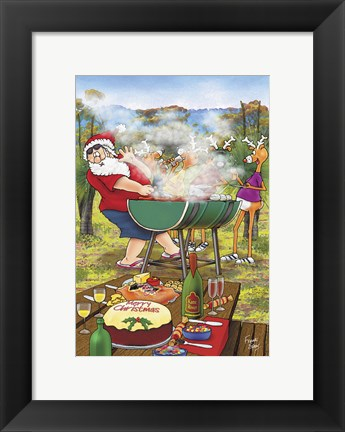 Framed Barbeque Santa Print
