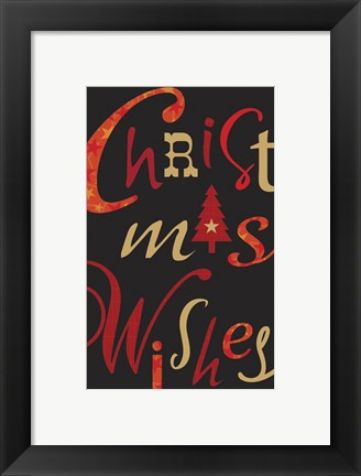 Framed Christmas Text Black Print
