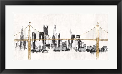 Framed Bridge and Skyline Print