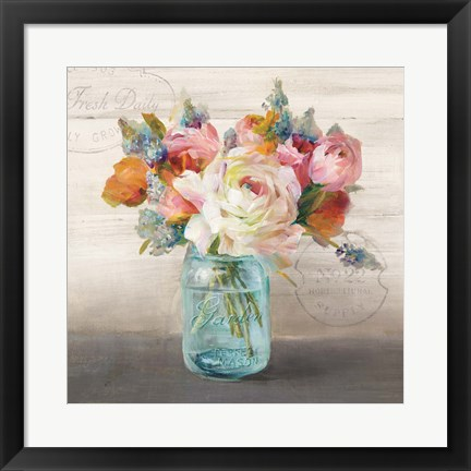 Framed French Cottage Bouquet II Print