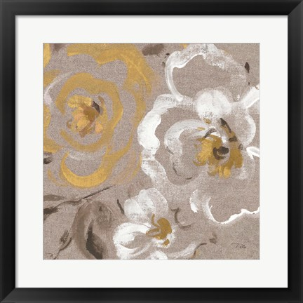 Framed Brushed Petals III Gold Print