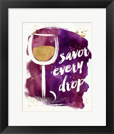 Framed Watercolor Wine I Print