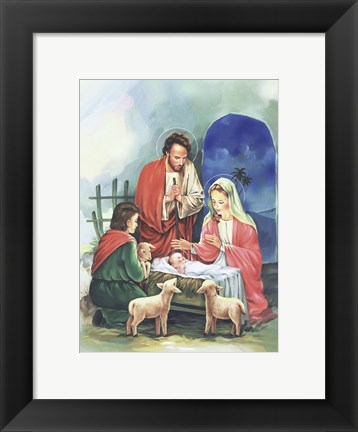 Framed Mary and Joseph's Adoration In Manger Print