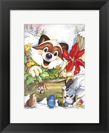 Framed Fox and Forest Christmas Print
