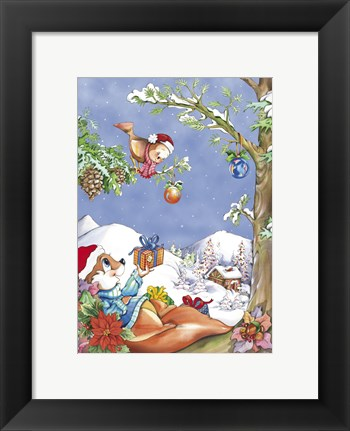 Framed Squirrel and Bird Holiday Tree Print