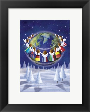 Framed Holiday Angels Around the World Print