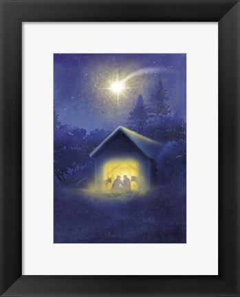 Framed Glowing Evening Manger Print