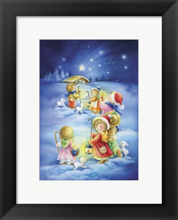Framed Little Shepherds Christmas Stroll Print