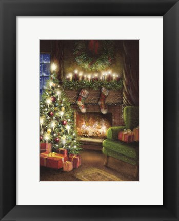 Framed Christmas By The Fireplace Print