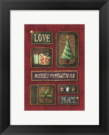 Framed Love Merry Christmas Peace Print