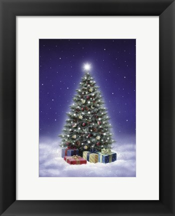 Framed Winter Christmas Tree II Print
