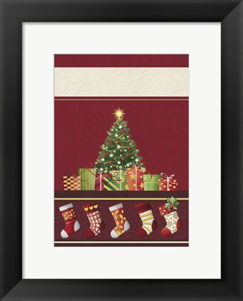 Framed Christmas Tree and Stockings In Red Print