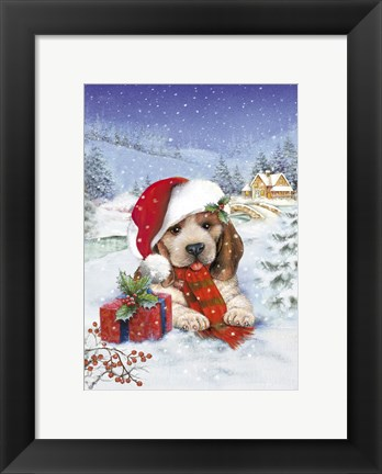 Framed Puppy With Gift and Mistletoe Print