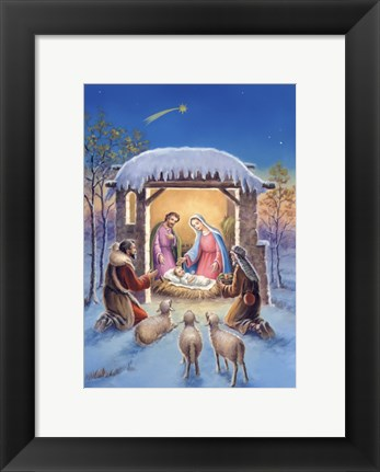 Framed Mary and Joseph With Visitors Bearing Gifts Print