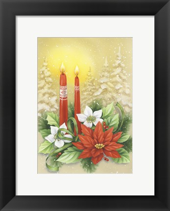 Framed Red Holiday Candles Print