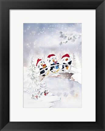 Framed Penguin Christmas Carol Print