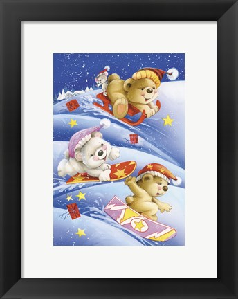 Framed Bears Snow and Holiday Gifts Print